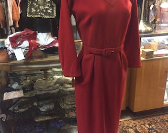 Rich woolly red wiggle dress of the 1950s