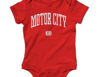 Baby One Piece - Motor City 313 Detroit - Infant Romper - NB 6m 12m 18m 24m - Baby Shower Gift, Motor City Baby, Detroit Infant, Michigan