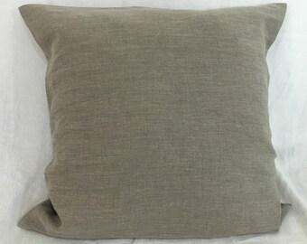 Dark Linen Pillow Case, natural linen in dark shade, Linen Euro Sham, 12x16, 16x16, 18x18, 20x20, 24x24, 26x26