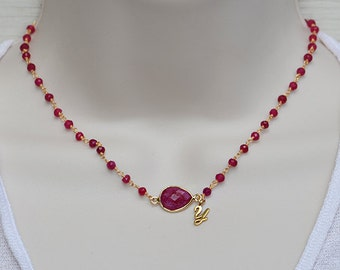 Personalized Ruby necklace, Vermeil Gold necklace, Sterling Silver necklace, ruby wire wrapped necklace, initial necklace, July Birthstone