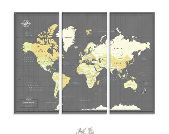 Push Pin Travel Map of World / Large World Map / Canvas Wall art / Large Wall art / Push Pin Map