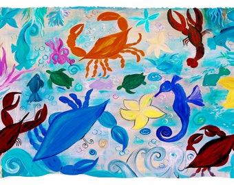 Sea creatures sea life coastal beach home throw blanket from my original art.
