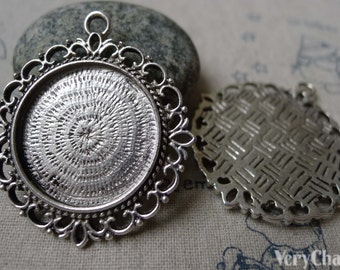 Antique Silver Pendant Tray Round Cameo Base Settings Bezel Blanks Match 25mm Cabochon Set of 10 A5823