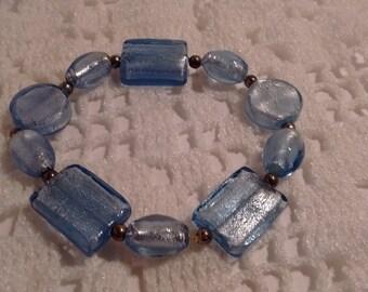 Blue Art Glass Bracelet: