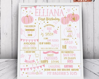 Little Pumpkin Girl First Birthday Chalkboard Sign 1st Birthday Printable Sign Pink Gold First birthday party chalkboard sign Little Pumpkin