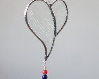 Clear Stained Glass Heart Christmas Ornament or Sun catcher
