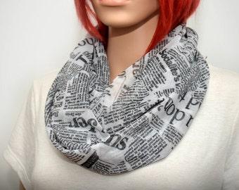 Mesh Newspaper scarf. Black & White  infinity scarf with newspaper print. Light scarf. Summer scarf. Mesh scarf. Chiffon scarf