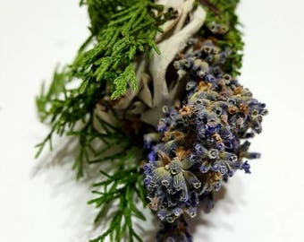 "White Sage, Juniper and Lavender Botanical Incense Stick (6"" Smudge)"