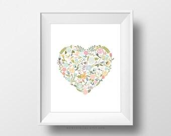 SALE -  Floral Heart, Pastel Floral, Spring Floral, Spring Flower, Heart Print, Floral Print, Heart Poster, Love Poster, Floral Love