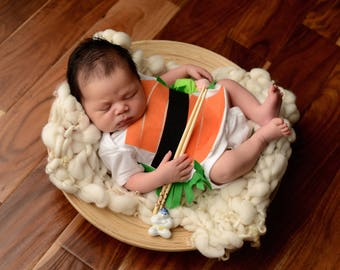 Sushi Baby Costume, Sushi Roll, Sushi Costume, MARTHA STEWART SHOW, Children's Halloween Costume, Food Costume, Funny Baby Sushi Onsie
