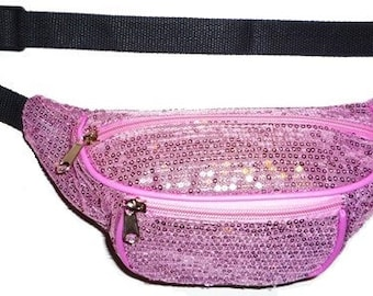 Pink Fabric Sequin Fanny Pack