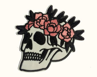 Patch of a skull with flowers, iron patch