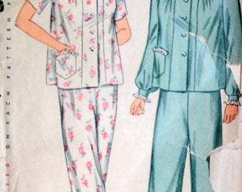 Vintage 40's Simplicity 2053 Sewing Pattern, Women's Two-Piece Pajamas, Plus Size, Size 20, 38 Bust, 1940's Fashion