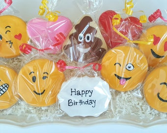 12 Emoji Cookies Happy Birthday