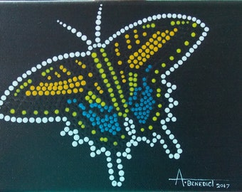 Swallowtail Butterfly 7x5 Original Acrylic Dot-Style Painting