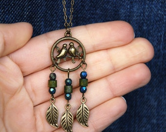 Bird Dream Catcher Necklace, Native american jewelry, Ethnic navy dreamcatcher, Army green boho layer pendant, bohemian tribal charm brass