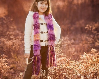Kids Gift Young Girls Scarf Clothing Gift Fashion Knit Accessories for Children - Any Colors Purple Kids Scarf