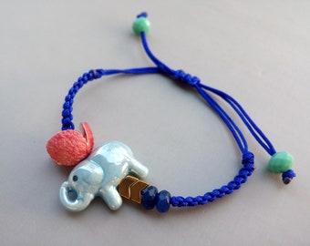 Elephant Bracelet, Beaded Bracelet, Elephant Jewelry, Elephant Charm, Good Luck Gift, Gift for Friends, Boho Bracelet, Ethnic, Gift for Her