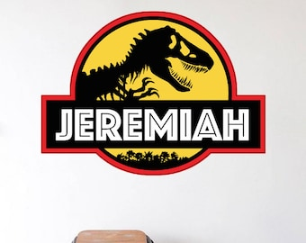 Jurassic Park Decal, Jurassic Park Wall Design, Personalized Jurassic Park Wall Decal, Jurassic Park Wall Logo, Dinosaur Wall Mural, b97