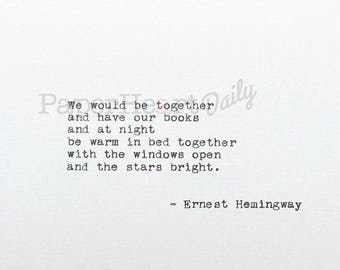 Typed Love Quote - Ernest Hemingway - Typewriter Quote - A Moveable Feast - Typed Quote - Quote on Cardstock