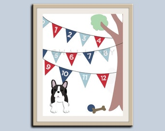 123 Numbers nursery art. Puppy dog nursery print. Bunting flag numbers poster for kids. Children decor, children art, Dog print by WallFry