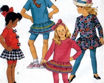 Girls Drop Waist Top and Leggings in 2 Lengths Sewing Pattern  - McCalls 6261 -   Size 4 5 6  Uncut