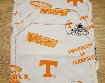 Coasters, square with miter corners, white background with University of TN symbols in orange