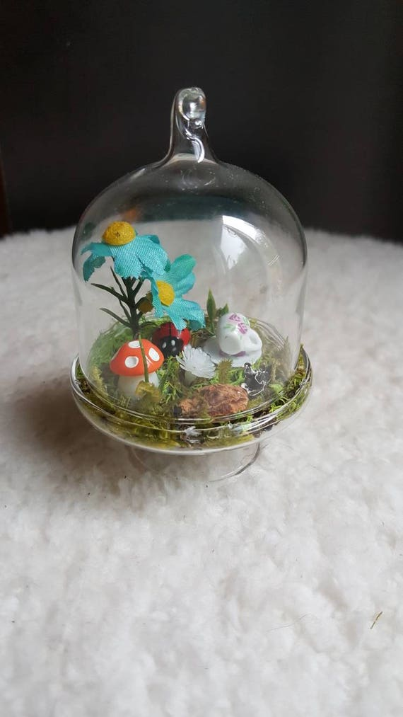 Mini Glass Dome Fairy Garden. Artificial Terrarium. Custom