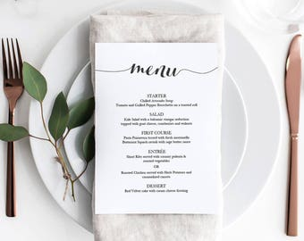 Printable Black Menu template - Calligraphy Style Script - Instant Download - Editable PDF - Wedding menu dinner party - 5x7 inches -#GD1301