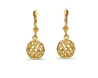 14k solid gold ball earrings on fleur de lis lever backs. disco ball earrings, fancy earrings.