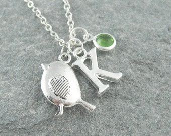 Sparrow necklace, robin necklace, initial necklace, swarovski birthstone, silver chain, gift for her, bird jewelry, personalized jewelry