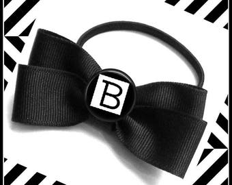 Girl Ladies Personalized Custom Initial Letter Hair Bow Pony Tail Holder Hair Tie  Black & White Design