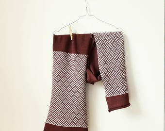 100% merino wool scarf, handmade knit scarf, brown and white scarf, geometric pattern