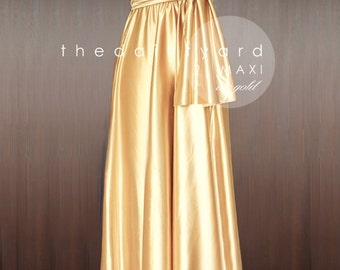 MAXI Gold Bridesmaid Dress Convertible Dress Infinity Dress Multiway Dress Wrap Dress Wedding Dress Full Length Dress Maid of Honor