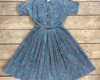 Vintage 1950s Grey & Turquoise Cotton Shirtdress / Made by Nelly Don / Full Skirt