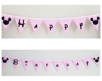 Happy Birthday Minnie Mouse Fabric Bunting Banner Flags Party Decoration