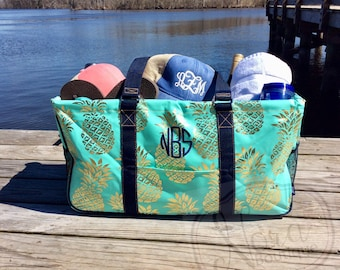 Monogrammed Large Utility Tote- Beach Bag Tote