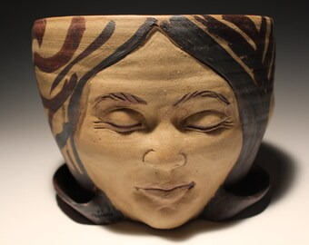 Three Faces Planter, Portrait Head Sculpture Flower Pot Open Mind Garden Art Vessel