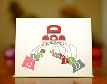Just Married - Colorful Antique Car Wedding Congratulations Card