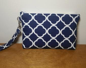 Navy Wristlet Wallet, Phone Wristlet, Wristlet Purse, Gift for Her