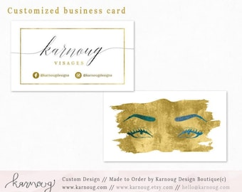Makeup Artist Business Card Design Watercolor Business Cards Custom Business Cards Printable Business Cards Gold Printable Cards