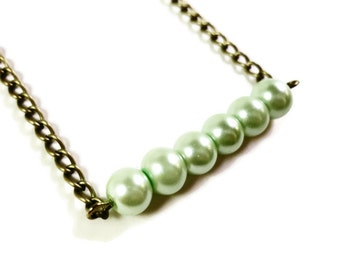 Mint Green Pearl Necklace, Beaded Bar Necklace, Simple, Glass Faux Pearl, Beadwork Necklace, Bronze, Row, Gift for Her, Women's Jewelry