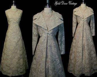 Deadstock Vintage 60s 70s TRAINA BOUTIQUE Mousseline 2 Pc Dress Coat Wedding Formal Ensemble L