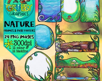 Nature frames and Page Footers Clip Art, Instant Digital Download