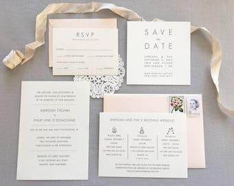 Gray and Blush Classic Wedding Invitation