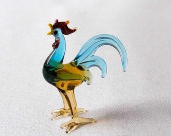 Miniature Rooster Figurine, Art Glass, Vintage Collectible Bird Statue, Hand Blown Farm Animal, Knickknack, Farmhouse Table Decor, Colorful