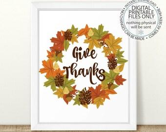 Give Thanks Printable Art Print, Fall Leaf, Autumn Leaf Print, Fall Printable, Autumn Home Decor, Thanksgiving Printable, Fall Leaves