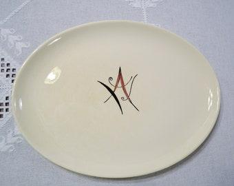 Vintage Stetson Oval Serving Platter Monogram Letter A Dark Pink Black USA PanchosPorch