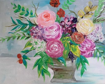 Colorful Bouquet, Acrylic Painting on Canvas