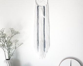 "Small Boho white/grey feather Dreamcatcher 5"", Wall decor, Bohemian, wall art, nursery, wedding, feather wall hanging, dream catcher"